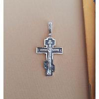 Нательный крест с Распятием и молитвой православный (арт. 3-001 чч)
