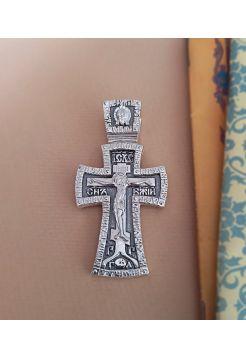 """Нательный крест с молитвой """"Распятие Христово и Ангел Хранитель"""""""