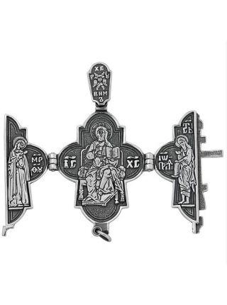 """Крест складень """"Голгофа. Господь Вседержитель""""  с молитвой (арт. М-017 ч)"""