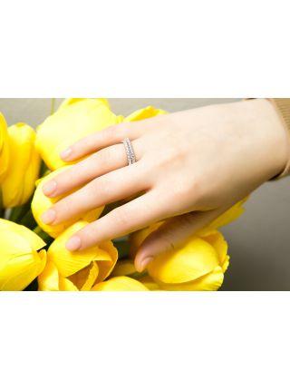 Серебряное кольцо с молитвой «Господи, спаси и сохрани» (арт. П20495 зел)