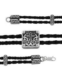 """Браслет """"Православный крест"""" (арт. МВБР-03 ч) на текстильном шнурке"""
