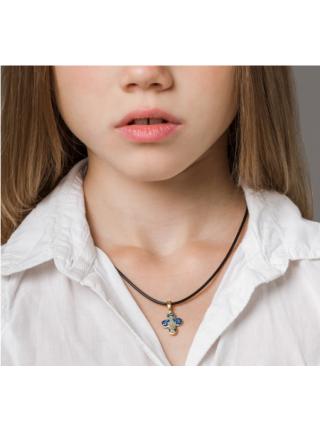 Четырехлепестковый нательный крест «Оранта» позалоченный