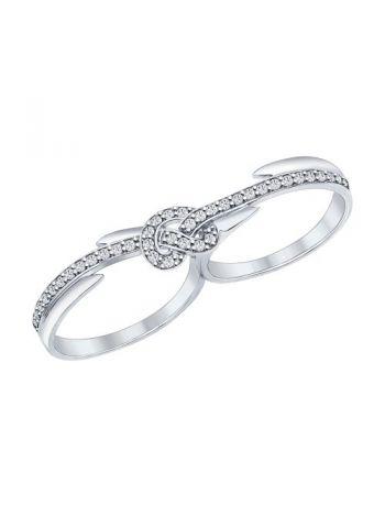 Фото - Кольцо на два пальца из серебра с фианитами (арт. 94011905)