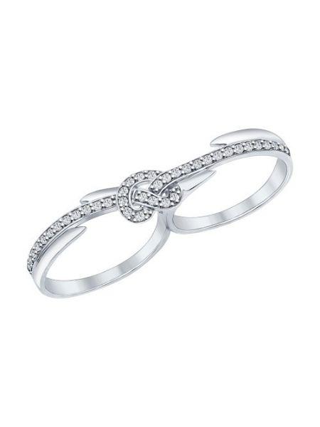 Кольцо на два пальца из серебра с фианитами (арт. 94011905)
