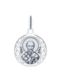 """Серебряная иконка """"Святитель архиепископ Николай Чудотворец"""" (арт. 94100249)"""