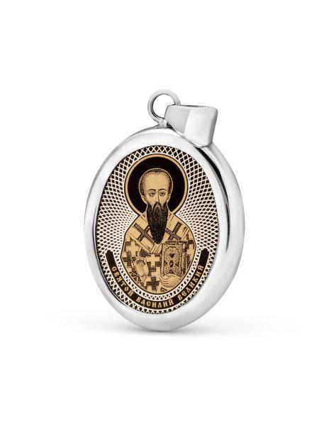 """Овальная икона подвеска """"Святитель Василий Великий"""" (арт. С-027 Василий)"""