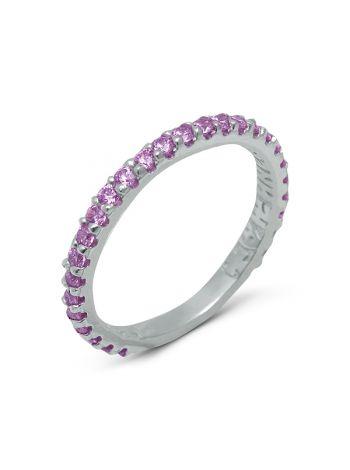 Фото - Серебряное кольцо с молитвой «Господи, спаси и сохрани» (арт. N20495 розовый)