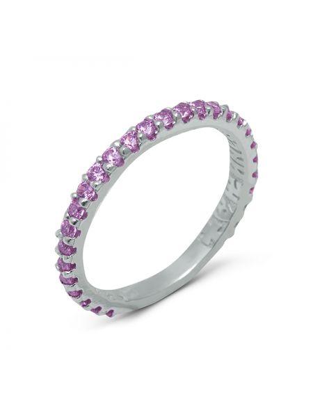 Серебряное кольцо с молитвой «Господи, спаси и сохрани» (арт. N20495 розовый)