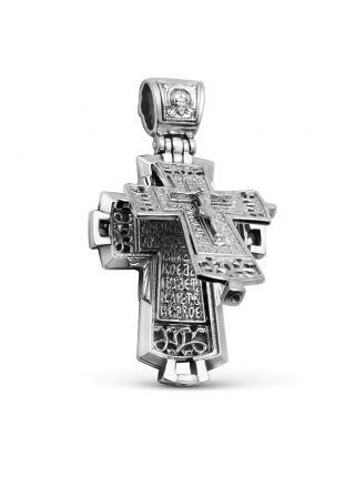 """Крест мощевик """"Распятие Христово. Ангел Хранитель"""" с молитвой (арт. М-041 ч)"""