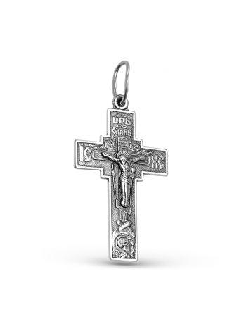 Фото - Нательный крест с Распятием и молитвой серебряный