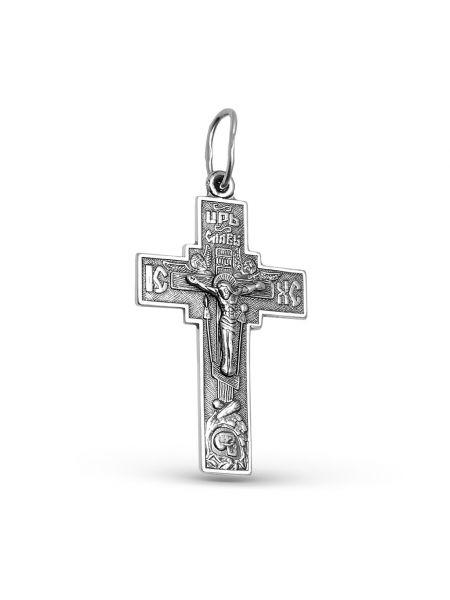Нательный крест с Распятием и молитвой серебряный