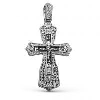 Нательный крест с Распятием и молитвой «Спаси и сохрани» из серебра