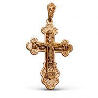 Нательный крест с Распятием и молитвой позолоченный