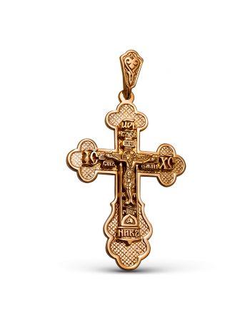 Фото - Нательный крест с Распятием и молитвой позолоченный