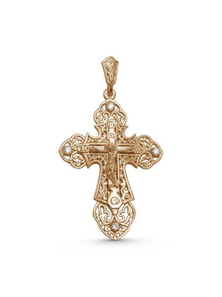 """Нательный крест с молитвой """"Распятие Христово и Ангел Хранитель"""" и фианитом"""