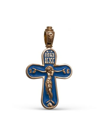 """Фото - Позолоченный православный крест """"Распятие Христово"""" с молитвой"""