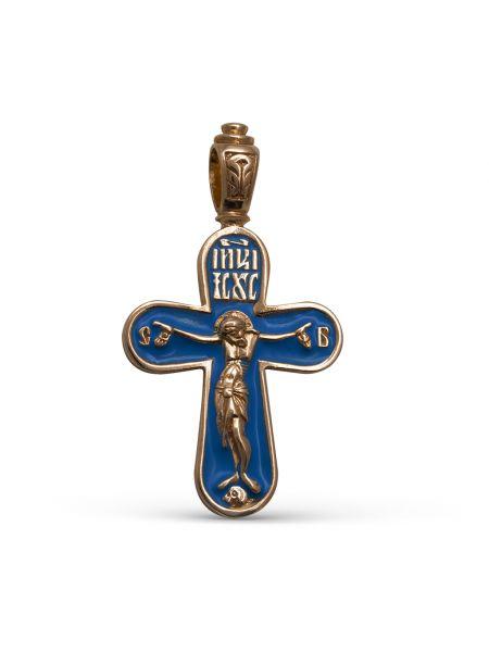 """Позолоченный православный крест """"Распятие Христово"""" с молитвой"""
