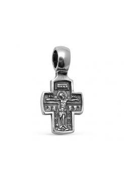 Нательный крест с Распятием Христовым и Ангелом Хранителем серебряный