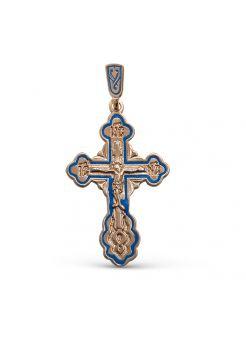 """Нательный крест """"Распятие Христово"""" с молитвой позолоченный"""