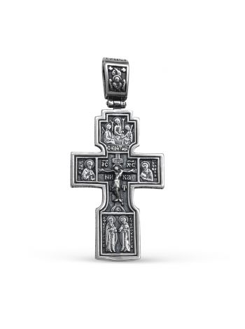 """Фото - Нательный крест  """"Распятие Христово. Знамение"""" с молитвой серебряный"""