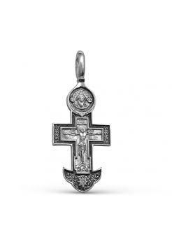 """Серебряный крест """"Распятие Христово. Богородица Страстна́я"""""""