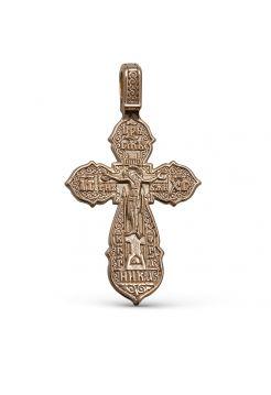 """Позолоченный нательный крестик """"Распятие Христово"""" с молитвой"""
