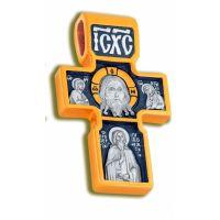 Позолоченный нательный крест «Нерукотворный Спас, Архангел Михаил»