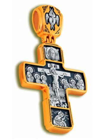 Фото - Нательный крест «Распятие Господа нашего, Знамение» позолоченный