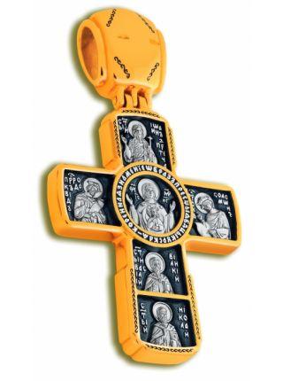 Нательный крест «Распятие Господа нашего, Знамение» позолоченный