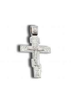 Нательный крест с Распятием и молитвой восьмиконечный