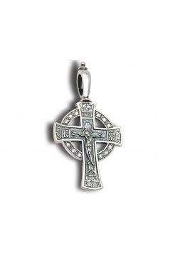 Нательный крест с Распятием и молитвой и фианитом