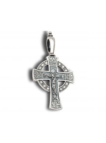 Фото - Нательный крест с Распятием и молитвой и фианитом
