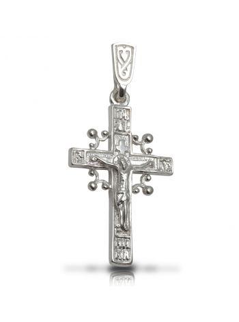 """Фото - Нательный крестик с Распятием и молитвой """"Спаси и сохрани"""""""