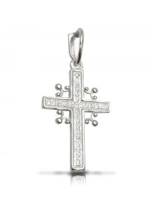 """Нательный крестик с Распятием и молитвой """"Спаси и сохрани"""""""
