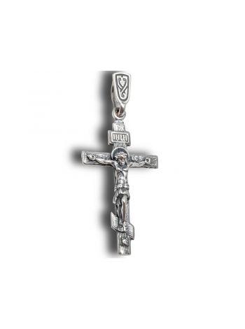 """Нательный крест с Распятием и молитвой """"Спаси и сохрани"""" (арт. 3-031 ч)"""