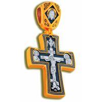 Нательный крест с Распятием и образом Св. Георгия Победоносца позолоченный