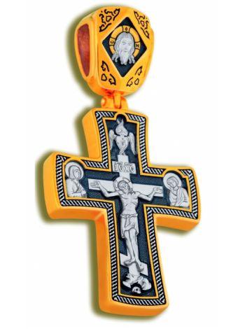 Фото - Нательный крест с Распятием и образом Св. Георгия Победоносца позолоченный