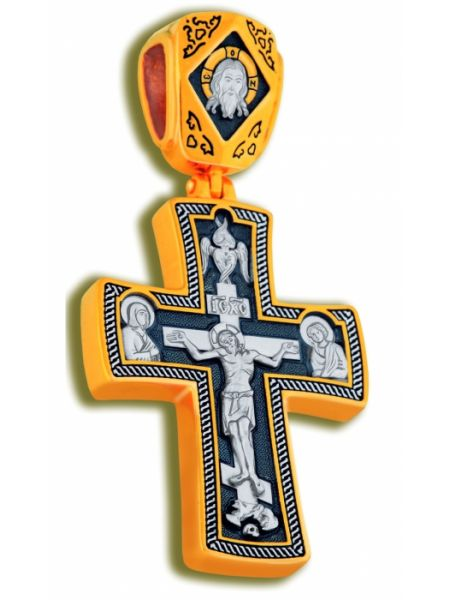 Нательный крест с Распятием и образом Св. Георгия Победоносца (арт. КСЧЗ 5027)