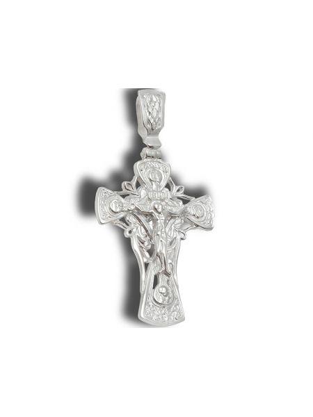 Нательный крест с Распятием и образом Богородицы Владимирской из серебра