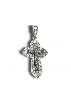 Нательный крест с Распятием и молитвой из серебра