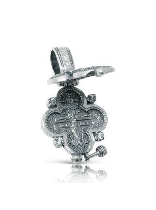 """Крест мощевик """"Распятие Христово"""" с молитвой (арт. М-025 ч)"""