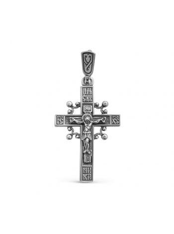 """Фото - Серебряный нательный крест с Распятием и молитвой """"Спаси и сохрани"""""""