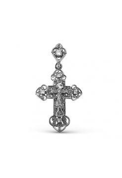 """Крестик серебряный с фианитами """"Распятие Христово"""" с молитвой"""