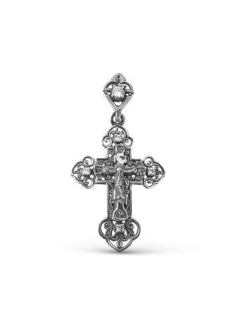 """Фото - Крестик серебряный с фианитами """"Распятие Христово"""" с молитвой"""