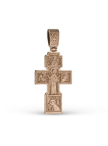"""Фото - Нательный крест """"Распятие Христово. Знамение"""" с молитвой позолоченный"""