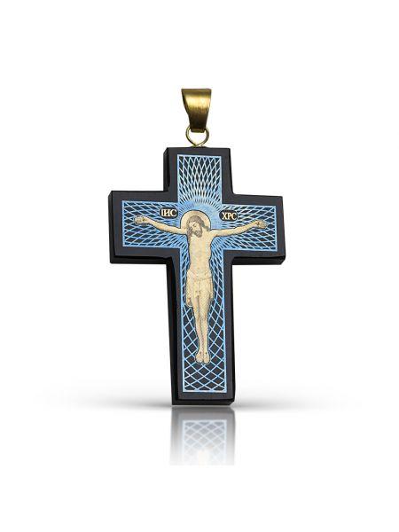 """Крест """"Распятие Христово"""" из обсидиана"""