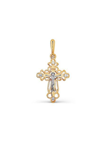 """Православный крестик с фианитами """"Распятие Христово"""""""