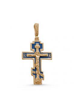 """Нательный крест """"Распятие Христово"""" с молитвой позолоченный с эмалью"""