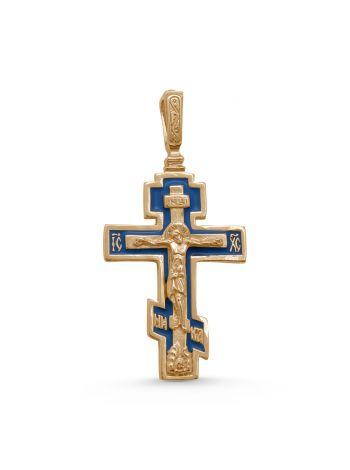 """Нательный крест """"Распятие Христово"""" с молитвой (арт. 3-001з эм)"""