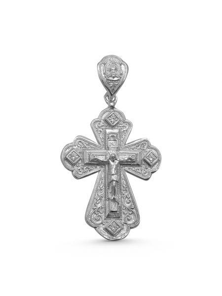 """Нательный крест """"Распятие Христово"""" с молитвой и фианитом"""